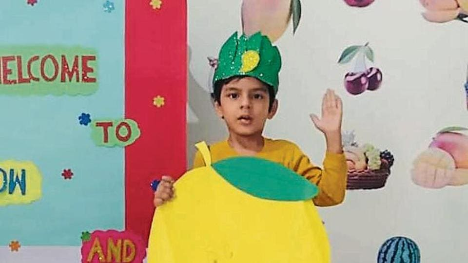 A student of BCM Kindergarten, Ludhiana, taking part in the virtual activity.