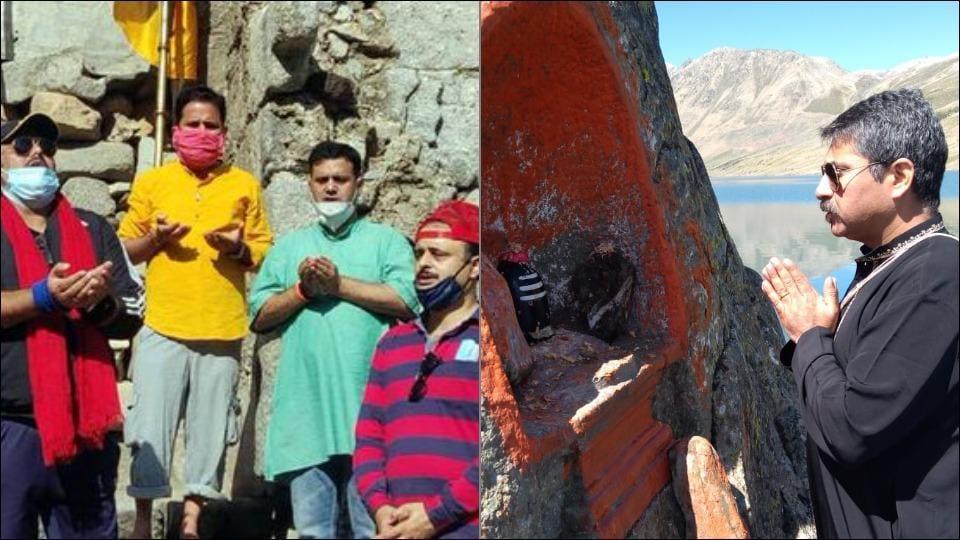 Devotees perform pilgrimage to Harmukh Gangbal lake shrine in Kashmir