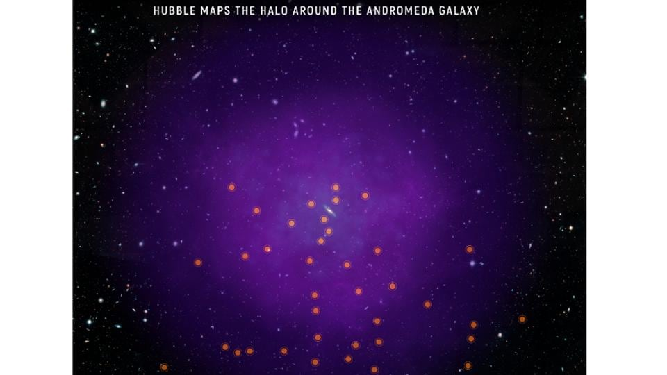 In a landmark study, scientists using NASA's Hubble Space Telescope have mapped the immense envelope of gas, called a halo, surrounding the Andromeda galaxy.