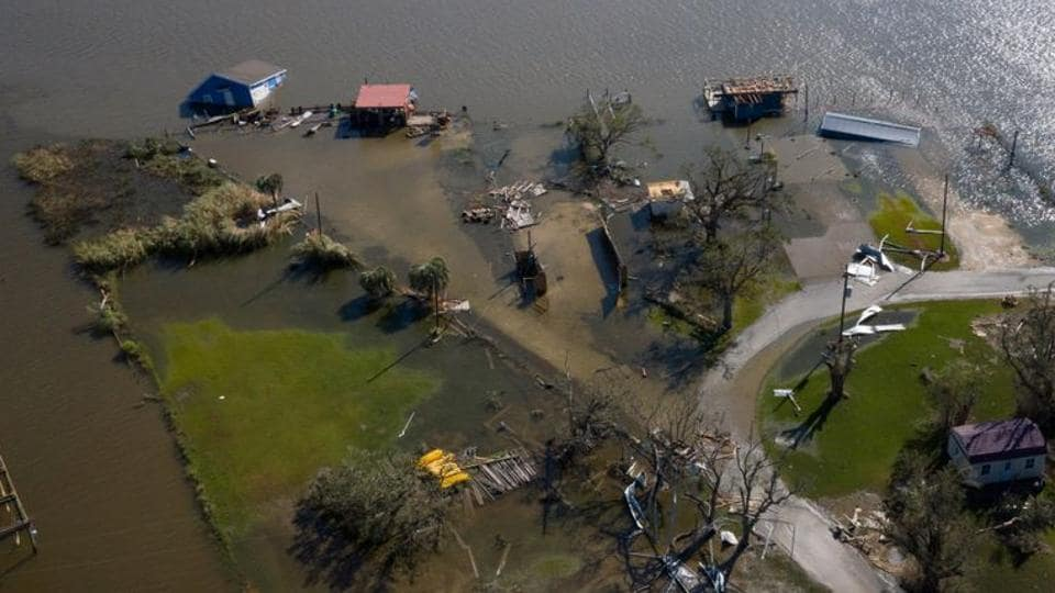 Homes lie destroyed and immersed in water in the aftermath of Hurricane Laura near Hackberry, Louisiana, US.