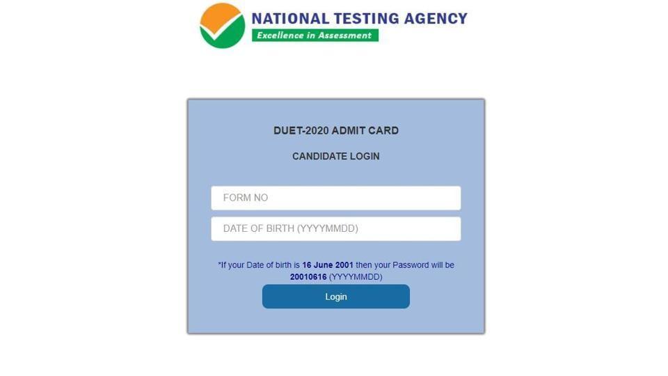 DUET 2020 admit card.