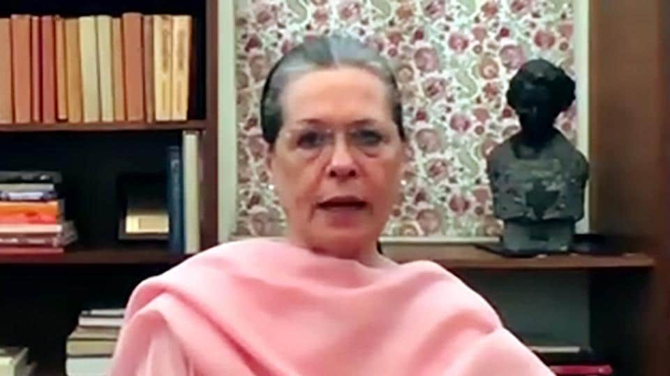 """In a recorded message, Sonia Gandhi further said """"some forces"""" are trying to derail the country."""