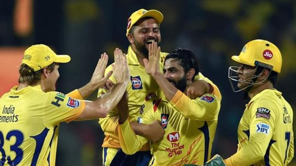 Chennai: Chennai Super Kings' (CSK) bowler Ravindra Jadeja celebrate with teammates after taking the wicket of DC's Chris Morris Indian Premier League 2019 (IPL T20) cricket match against Delhi Capitals (DC) at MAC Stadium in Chennai, Wednesday, May 1, 2019.