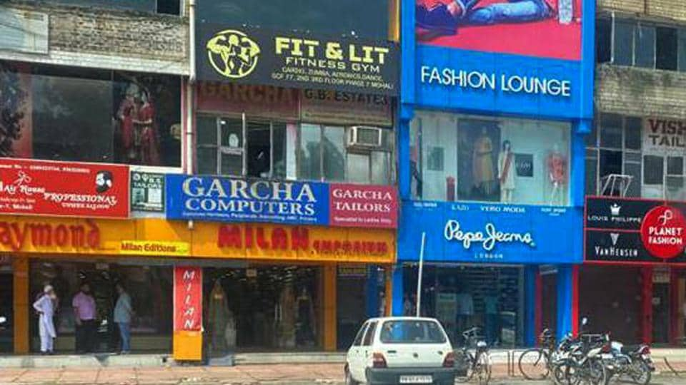 Many shopkeepers violated lockdown norms by opening shops in Phase 7 market in Mohali on Saturday