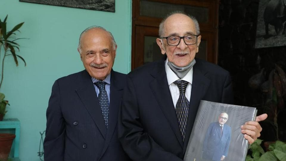 Senior lawyer Lalit Bhasin with eminent jurist Fali S Nariman.