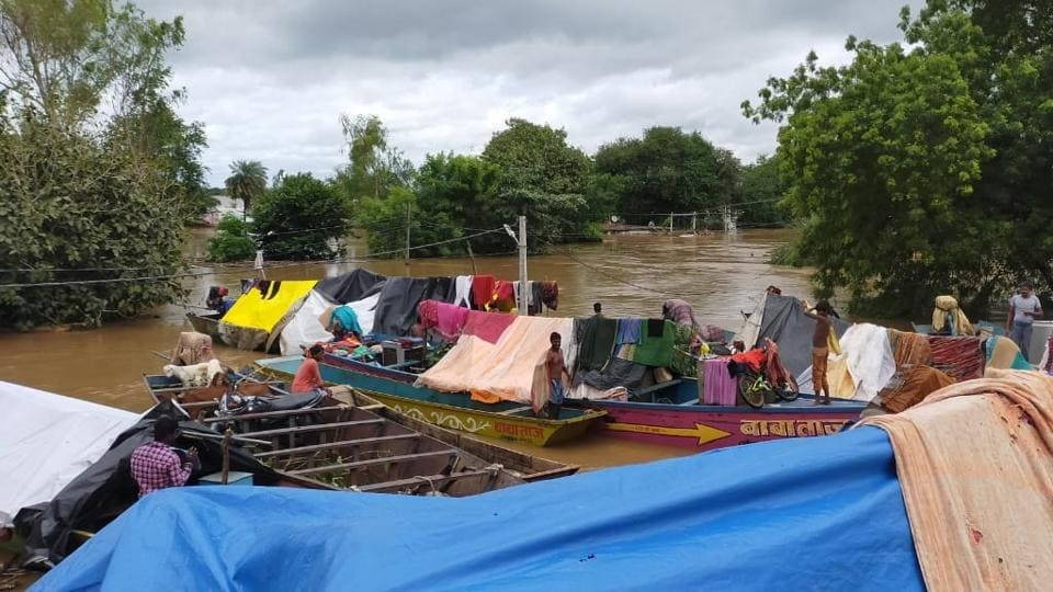 Flood hits Sehore district in Madhya Pradesh. Twelve districts of Madhya Pradesh have been affected by floods following incessant rains since Thursday.