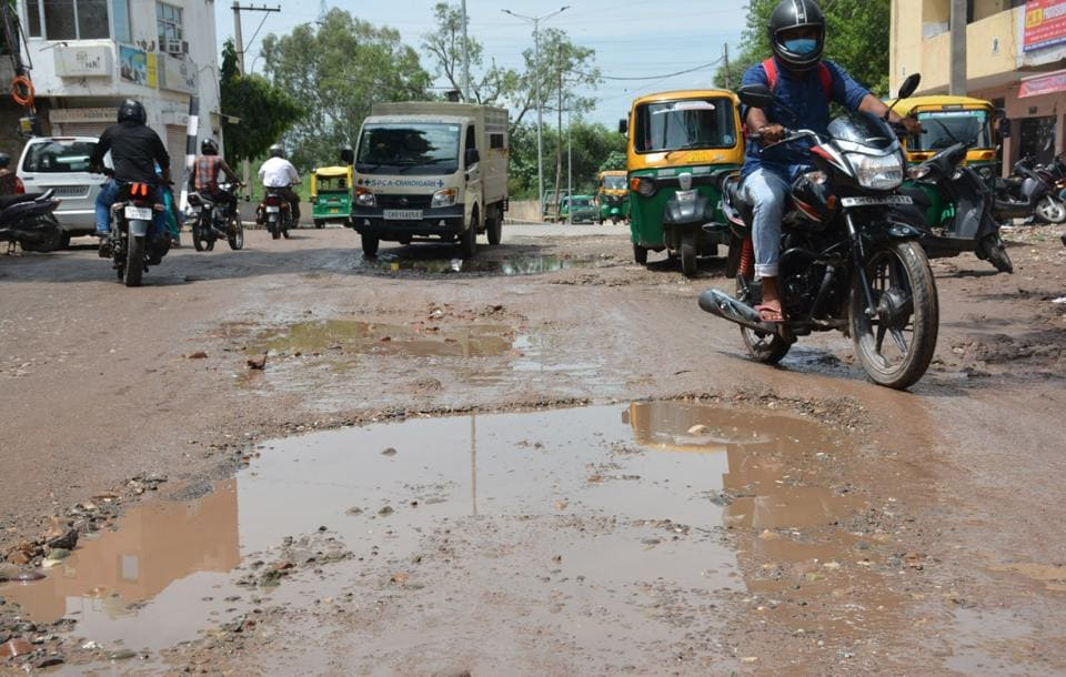 Road repair work in Chandigarh had to be postponed due to lockdown restrictions and later, during the monsoons.