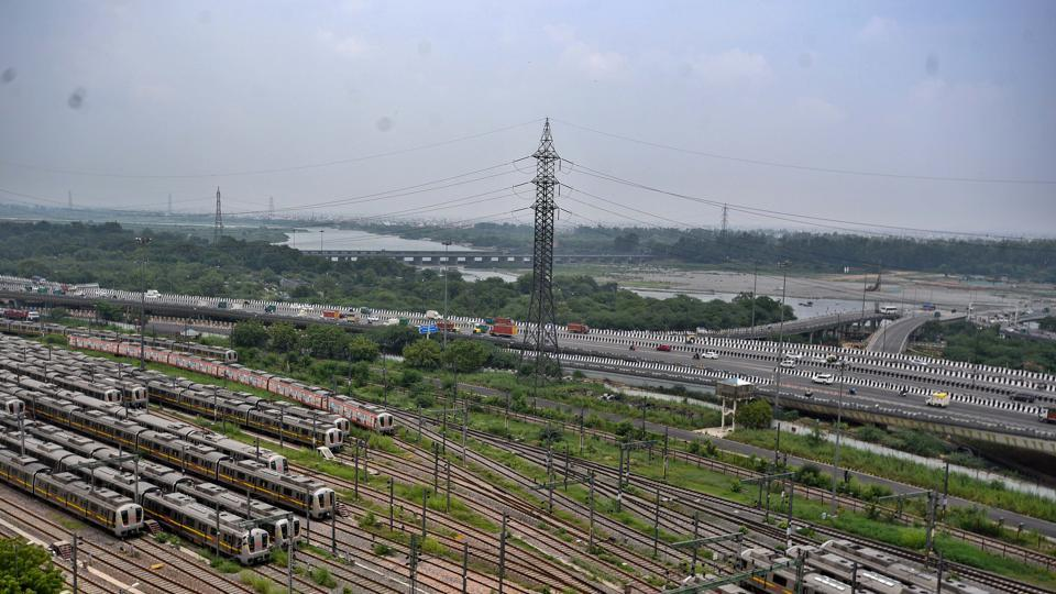 Delhi Metro trains parked at a shed in Timarpur, New Delhi.