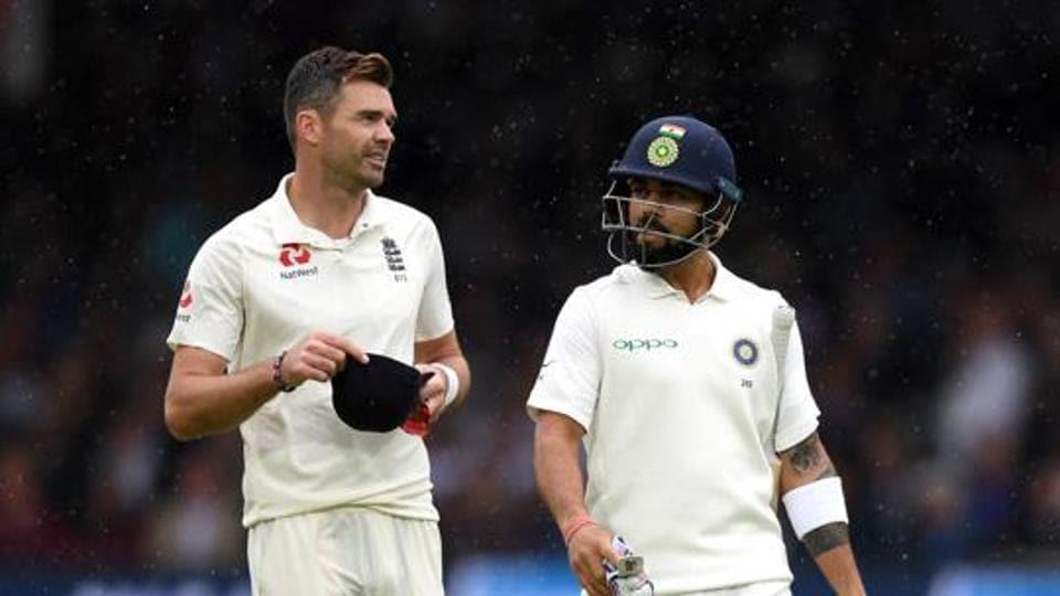 James Anderson of England and India captain Virat Kohli