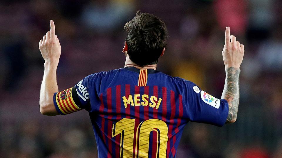 FILE PHOTO: Soccer Football - La Liga Santander - FC Barcelona v Alaves - Camp Nou, Barcelona, Spain - August 18, 2018 Barcelona's Lionel Messi celebrates scoring their third goal REUTERS/Albert Gea/File Photo
