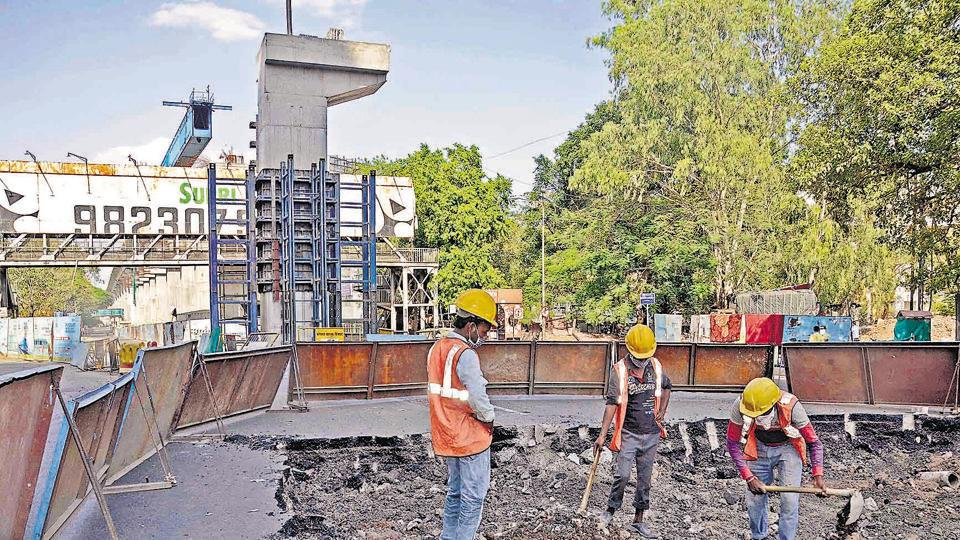 Pune Metro work resumed near Poud phata in Pune after authorities relaxed lockdown restrictions.