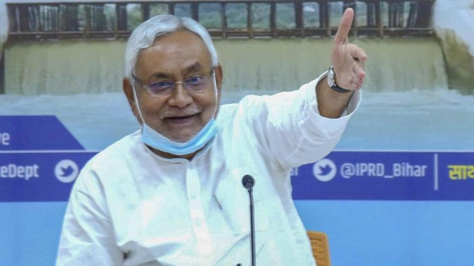 JD(U) president and Bihar CM Nitish Kumar inaugurates schemes of Water Resources Department via video conferencing in Patna.