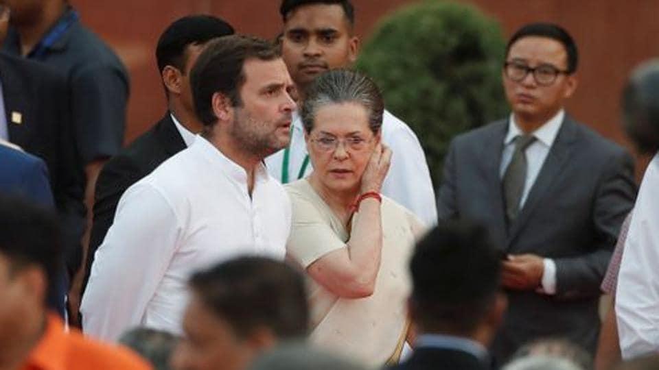Congress' Rahul Gandhi and his mother Sonia Gandhi.