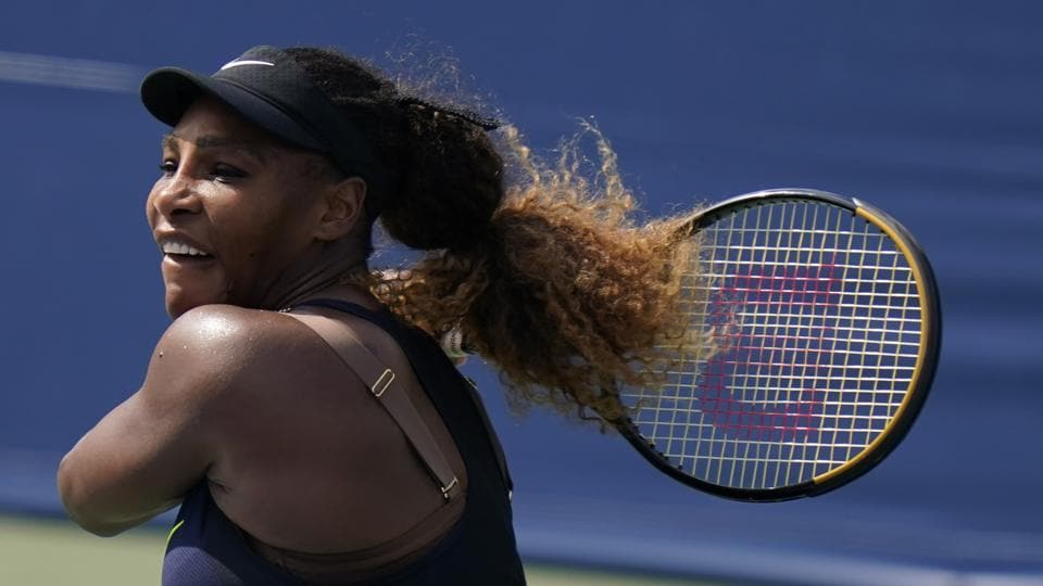 FILE - In this Monday, Aug. 24, 2020, file photo, Serena Williams watches a shot to Arantxa Rus, of the Netherlands, during the second round at the Western & Southern Open tennis tournament in New York. Williams is scheduled to play in the U.S. Open, scheduled for Aug. 31-Sept. 13, 2020. (AP Photo/Frank Franklin II, File)
