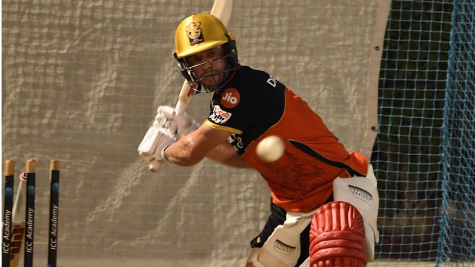 ABdeVilliers during a nets session.