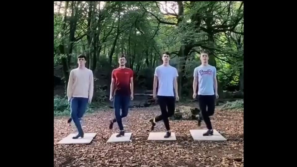 Shared from the Instagram page of the group Cairde, the clip shows four members of the group.