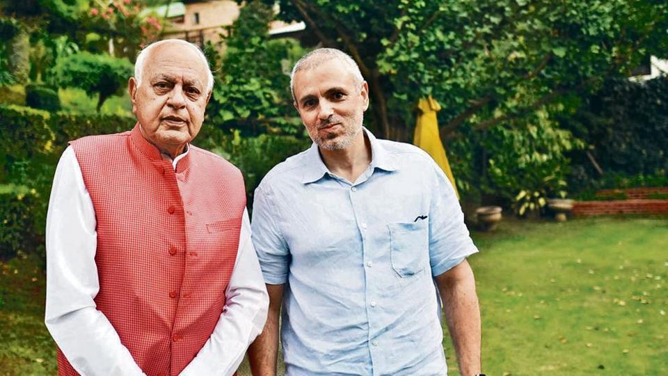 NC leaders Farooq Abdullah and Omar Abdullah at their residence in Srinagar.