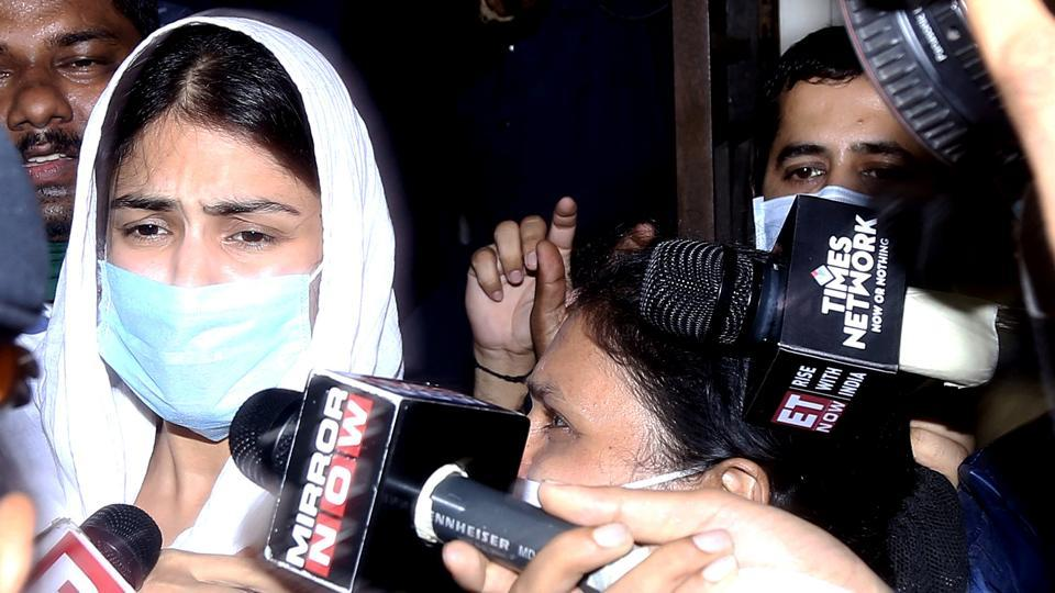 Rhea Chakraborty leaves from Enforcement Directorate office after questioning in Sushant Singh Rajput's death case.