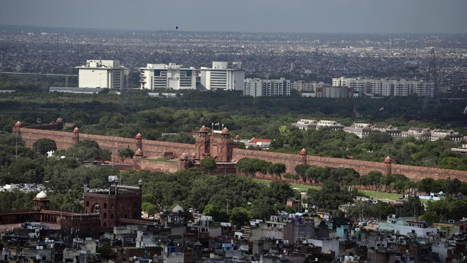 An aerial view of the Red Fort in New Delhi, India.