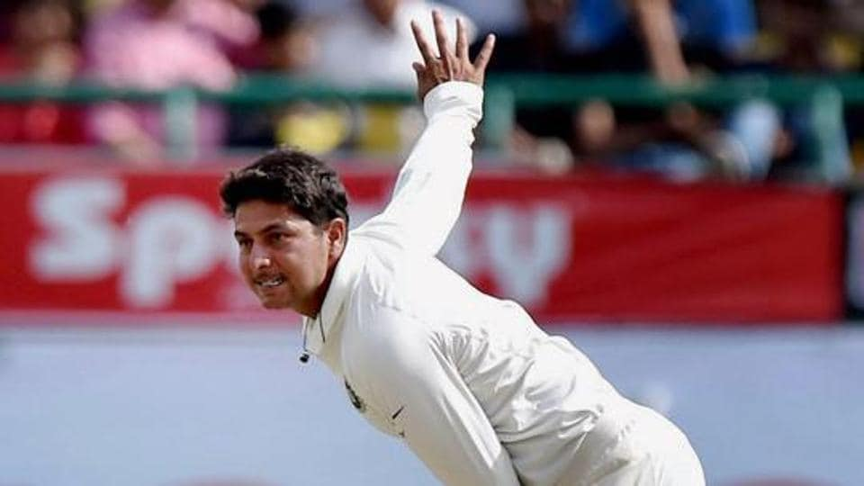 India's Kuldeep Yadav in action against Australia during the first day of last test match at Dharamsala.