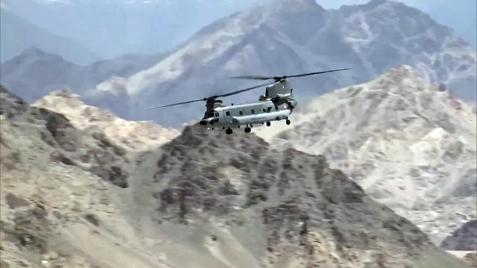 Indian Air Force aircraft carrying out sorties in Leh.