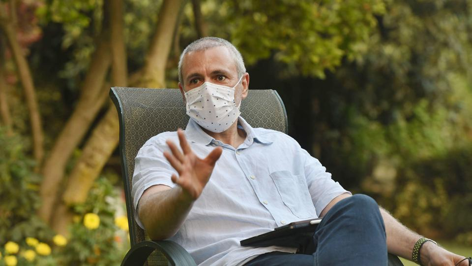 Jammu and Kashmir National Conference leader Omar Abdullah during an interview with Hindustan Times in Srinagar on Friday.