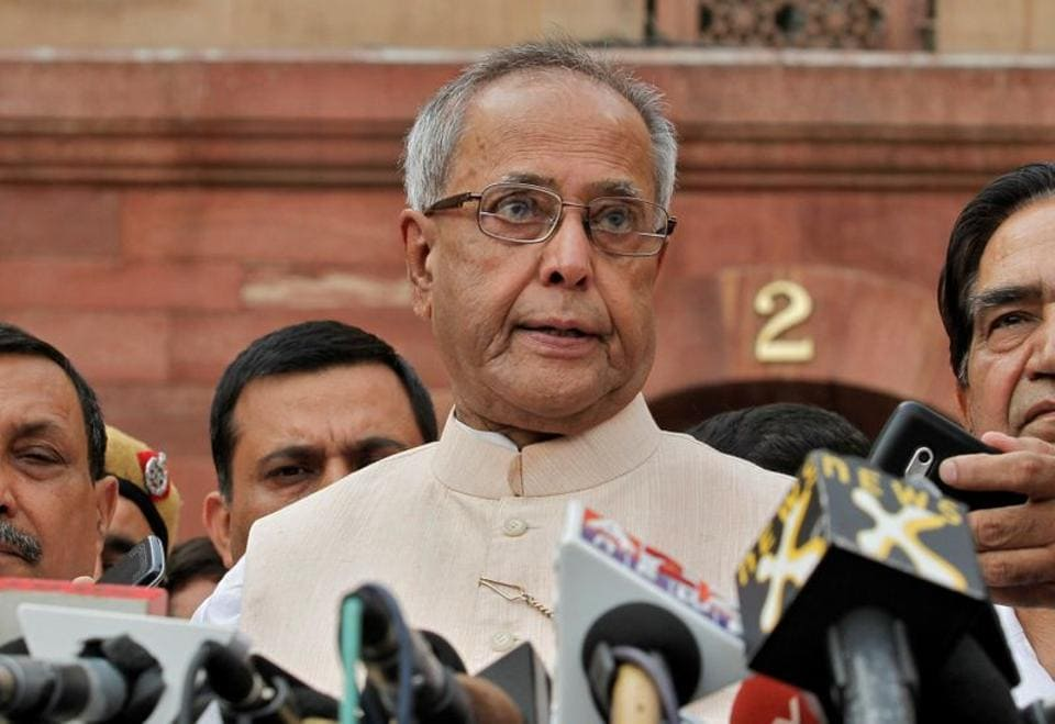 Pranab Mukherjee speaks to media in the run-up to the Indian presidential election in New Delhi June 26, 2012. Former president Pranab Mukherjee died at 84 on Monday.