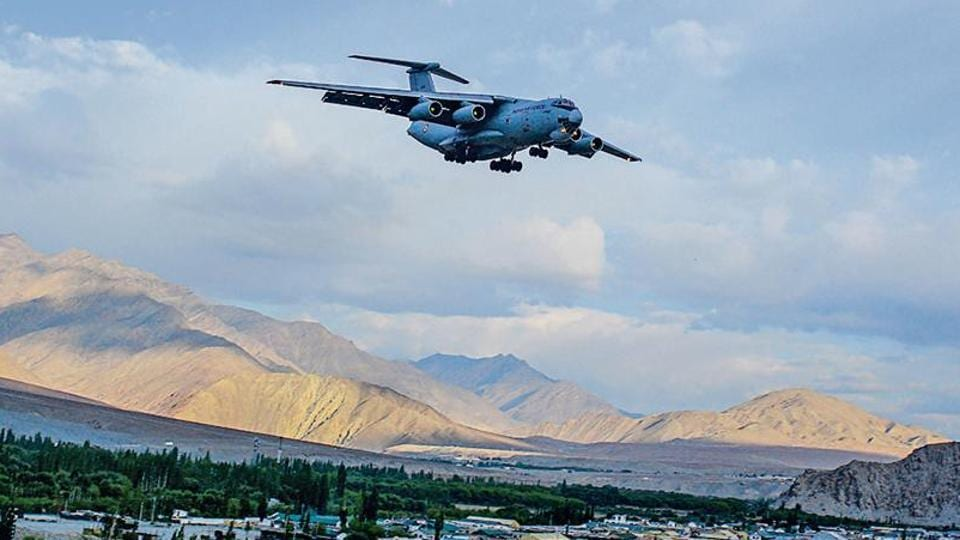 An Indian Air Force aircraft in Ladakh on July 10.