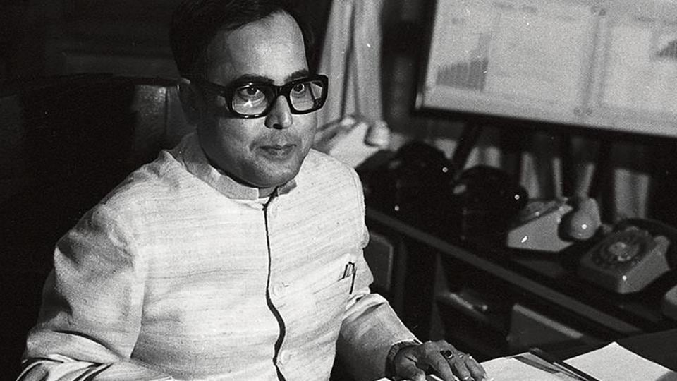 Pranab Mukherjee, as finance minister, with the budget documents on February 28, 1983.
