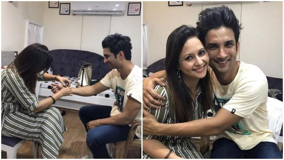 Sushant Singh Rajput with Mamta Handa on Dil Bechara sets.