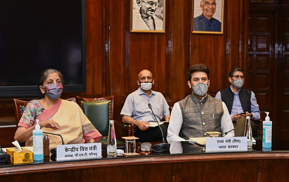 Union finance minister Nirmala Sitharaman chairs the 41st GST Council meeting via video conferencing, New Delhi, 2020