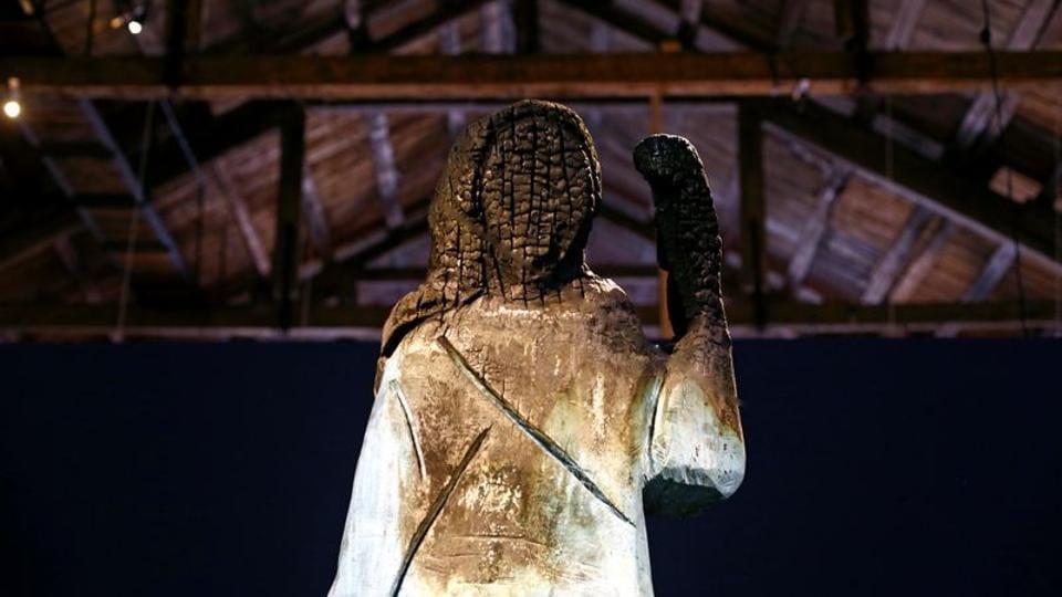 Burnt Sculpture Of Flotus Melania Trump Representing Tensions In The Us Exhibited In Slovenia Hindustan Times