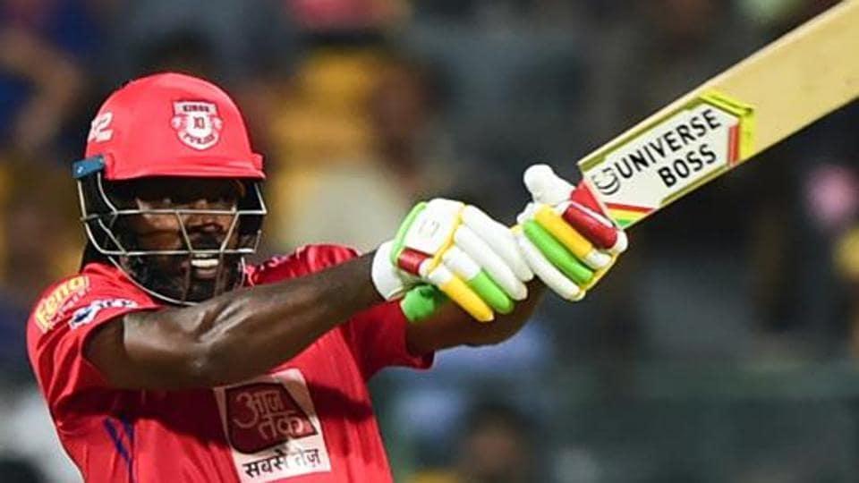 KXIP batsman Chris Gayle plays a shot during the Indian Premier League 2019.