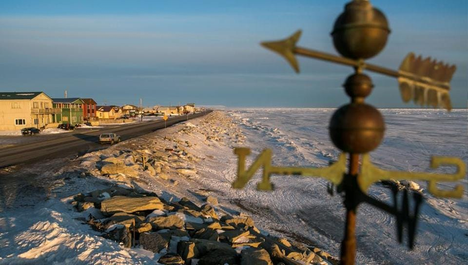 FILE PHOTO: A frozen beach on the Bering Sea coast is seen near the last stretch mushers must pass before the finish line of the Iditarod dog sled race in Nome, Alaska, March 10, 2014.