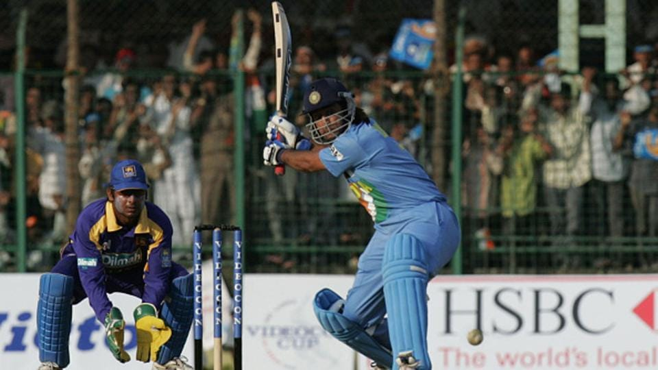 MS Dhoni during his innings of 183 against Sri Lanka in Jaipur, 2005.