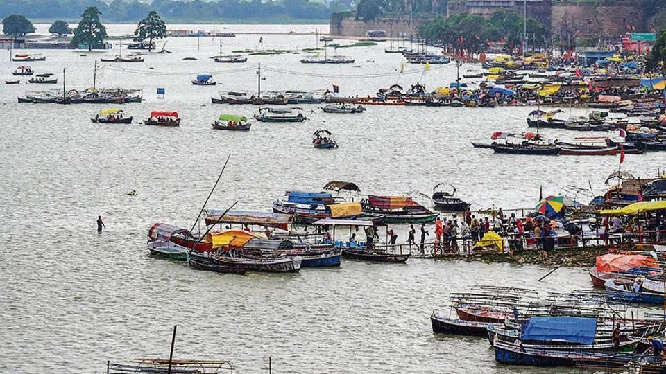 A submerged ghat in Prayagraj, caused due to a rise in water levels of Ganga and Yamuna rivers.