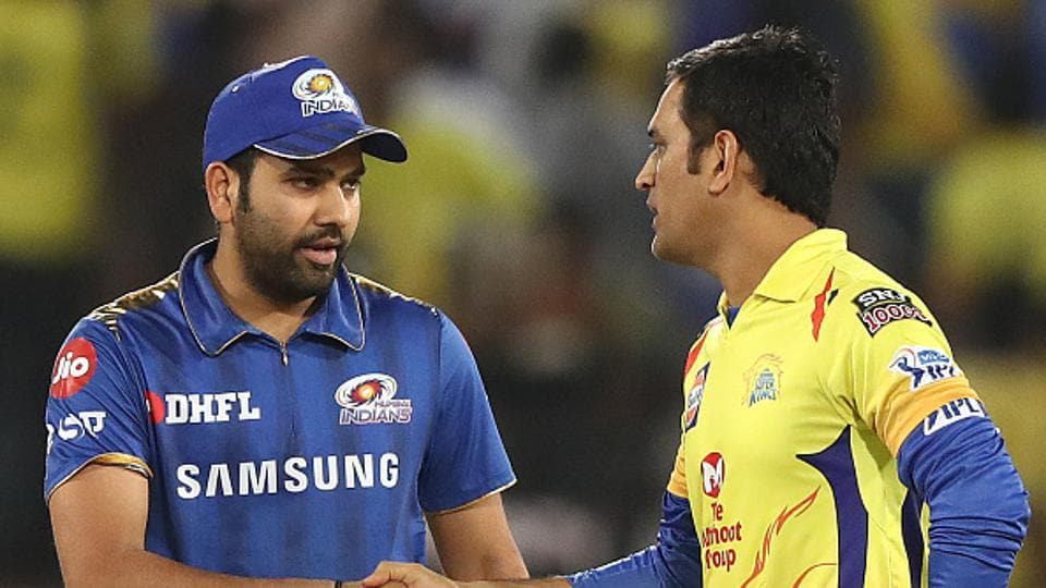 HYDERABAD, INDIA - MAY 12: Rohit Sharma of the Mumbai Indians and MS Dhoni of the Chennai Super Kings