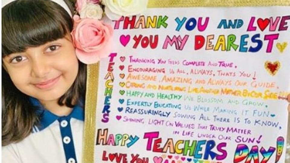 Aishwarya Rai Bachchan posted her daughter's Aaradhya's poster for Teacher's Day on Instagram.