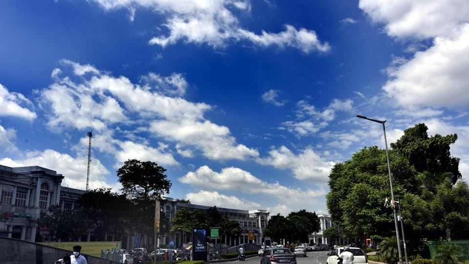 A cloudy blue sky over Connaught Place in New Delhi, earlier in August.
