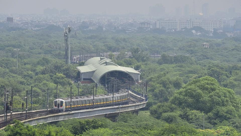 A Yellow Line metro train leaves a station following resumption of operations by the Delhi Metro Rail Corporation (DMRC) in New Delhi on September 7. After being shut for 169 days due to Covid-19, the Delhi Metro on September 7 resumed services, opening limited corridors to passengers, while ensuring that social distancing norms were adhered to. (Sanjeev Verma / HT Photo)