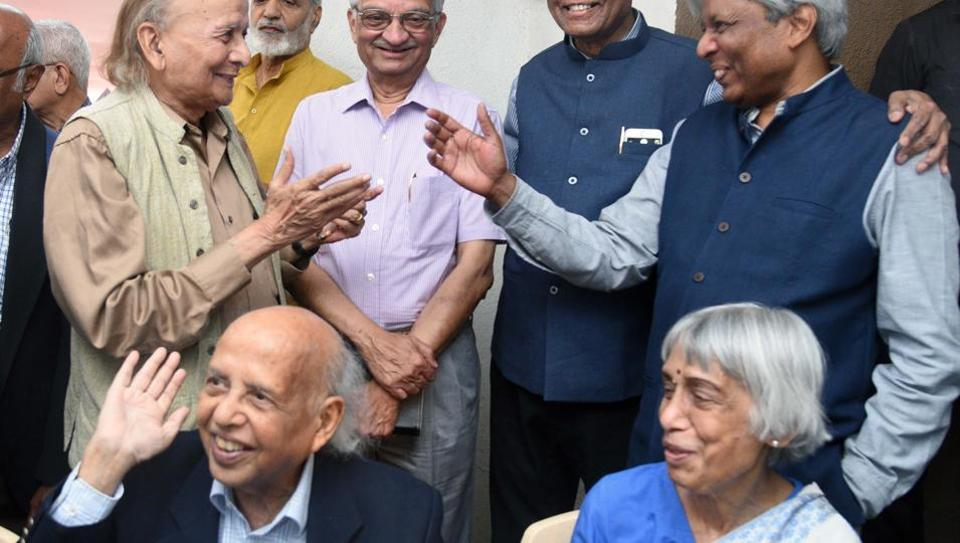 (Sitting in front) Govind Swarup with his wife on his 90th birthday in Pune  on March 21, 2019.