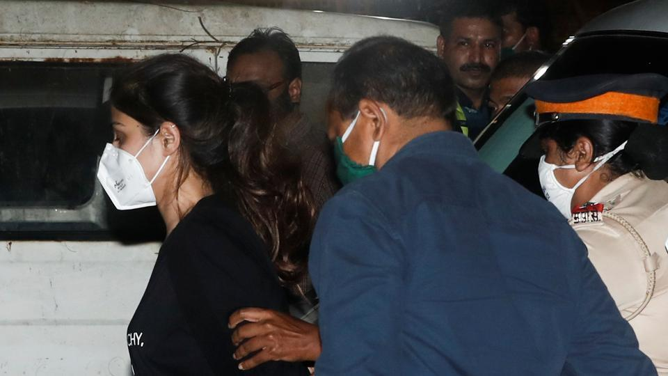Bollywood actress Rhea Chakraborty arrives at the Narcotics Control Bureau (NCB) after she was arrested in Mumbai, India, September 8, 2020.