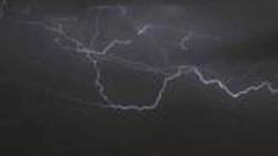 A series of lightning  strikes killed at least a dozen people in eight districts of Jharkhand on Monday.