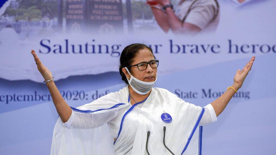 West Bengal CM Mamata Banerjee addresses a Police Day programme at Nabanna in Kolkata, Tuesday, Sept. 8, 2020.