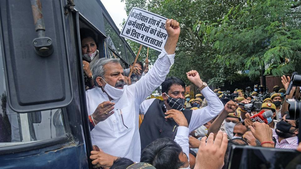 Delhi BJP President Adesh Kumar Gupta along with BJP Councilors from North, South & East MCD protest at Civic centre against Delhi government for allegedly not releasing funds payable to MCD, in New Delhi.