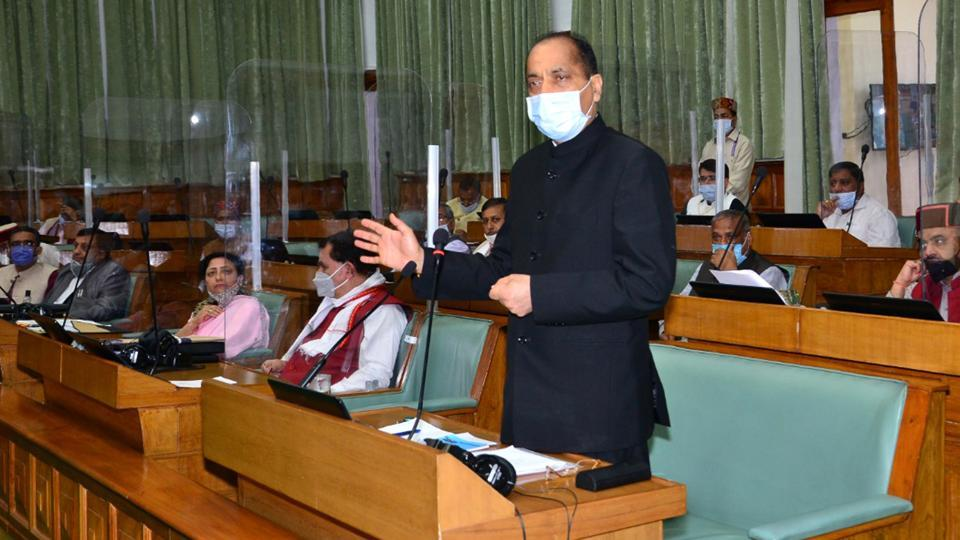 Chief minister Jai Ram Thakur addressing the assembly on the second day of monsoon session in Shimla on Tuesday.