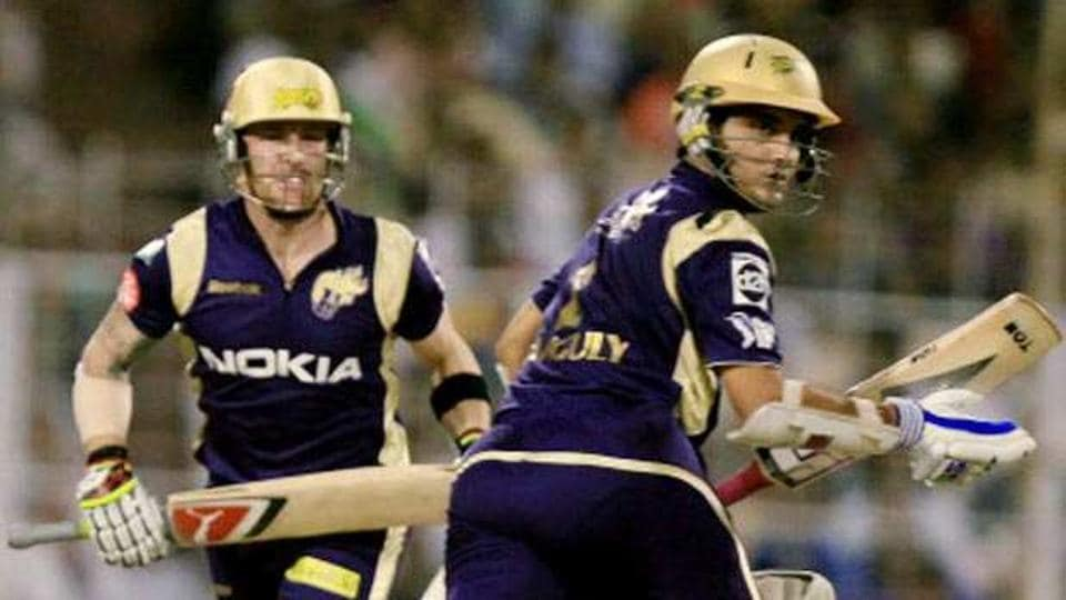 Brendon MCCullum and Sourav Ganguy during an IPL match for Kolkata Knight Riders