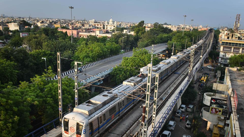 A blue line metro rail seen during its trial run ahead of the resumption of DMRC's blue line metro service for public during the coronavirus outbreak, at Janakpuri, in New Delhi.
