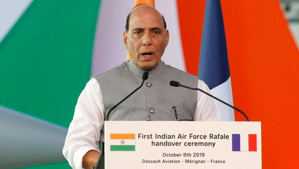 Defence Minister Rajnath Singh delivers a speech during a ceremony for the delivery of the first Rafale fighter to the Indian Air Force at the factory of French aircraft manufacturer Dassault Aviation in Merignac near Bordeaux, France.