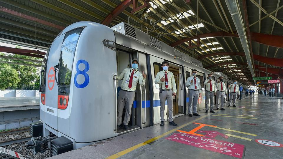 Drivers during the trial-run of Metro trains on the Blue Line, ahead of its resumption from September 9.